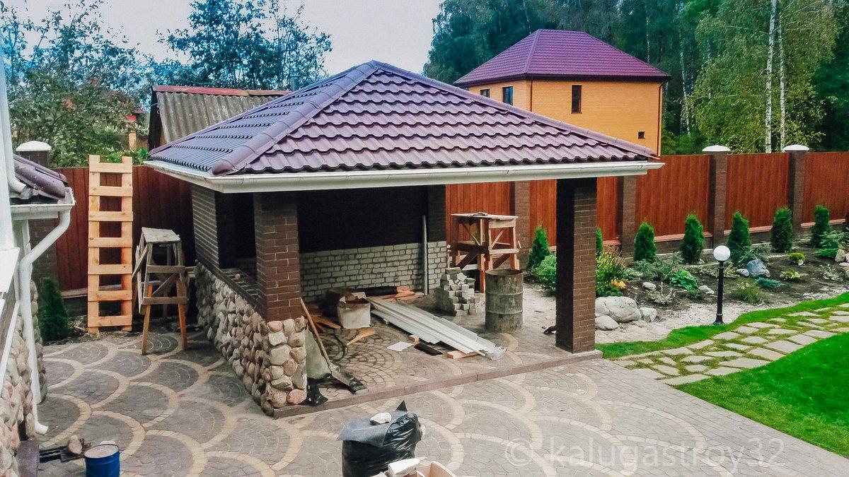 Беседки фото с вальмовой крышей